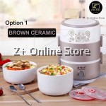 ZPLUS Multi Purpose 3 Layer Tier Ceramic Stainless Steel Bowl Electric Lunch Box