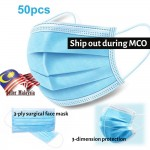 [Ready Stock] 50pcs 3 ply Ear Loop Surgical Face Mask Disposable Face Mask Filter Bacteria Virus Dust Haze