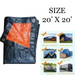(20' x 20') JUMBO PE Tarpaulin Sheet Canvas Waterproof Ready Made Cover Lorry Gardens Use