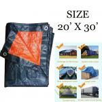 (20'x 30') JUMBO PE Tarpaulin Sheet Canvas Waterproof Ready Made Cover Lorry Gardens Use