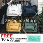 [Free Masks] Japanese Style Canvas Fashion Sling Bag Unisex Handbag Free Frog Keychain