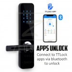 TTLock Security Smart Digital Door Lock Remotely Controllable without Internet Smart Home Concept Bluetooth Touchscreen Lever Lock Keyless Electronic Digital Lock for Airbnb