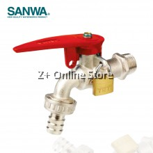 "SANWA 1/2"" Lockable Ball Tap With Hose Model CKT 15 L Brass Chromium Faucet Water Tap"