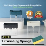 2 IN 1 Soap Pump Dispenser With Sponge Holder Kitchen Dishwasher Kitchen Manual Press Liquid