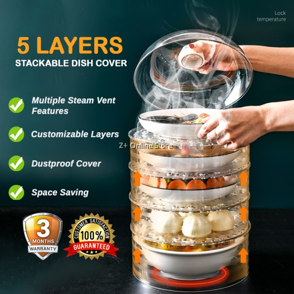 Ready Stock Stackable Food Cover Tudung Saji Fresh Universal Food Sealer Container Plate Platter Lid Cover Topper