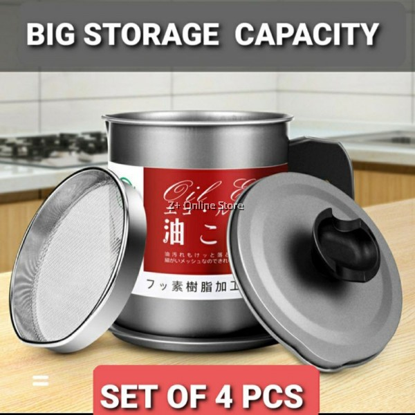 [9 TYPES] Stainless Steel SUS304 Oil Filter Pot Oil Storage Oil Strainer Container Pot Oil Can Oil Tank 过滤油壶