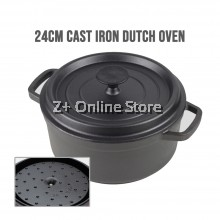 24cm Cast Iron Dutch Oven 4.5 Quart Cooking Pot Stew Pot Soup Pot Self basting Lid 2-5 people