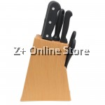 Z PLUS Kitchen Tool Slice Cut Stainless steel knife set scissors stand (Light Brown)
