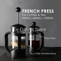 French Press Coffee Maker Portable Heat Resistant Glass Tea Pot Filter Coffee Pot Glass Coffee Tea Maker Pot with Infusion Coffee Brewer 350ml/ 600ml/1000ml