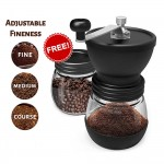3 Pcs Set Washable Manual Ceramic Coffee Mill Stainless Steel Coffee Grinder With Free 2 Glass Bottles Containers DIY Mini Hand Coffee Bean Grind Mill Barista Tool
