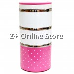 Z PLUS Mini Stainless Steel 3 Layers Lunch Box Premium Gift (1230ml) Pink