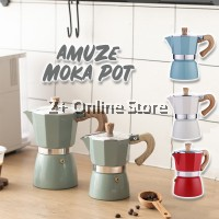 High Quality Colourful Moka Pot Coffee Makers Stovetop Aluminium Italian Expresso Percolator Hand Brew Coffee Pot Cafe Barista Rich Brew