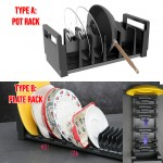 9 Slots Adjustable Pots and Plates Organizer Cast Iron Skillet Rack Cooking Pot Rack Organiser Cast Iron Pan Rack for Kitchen Counter Tabletop Cabinet