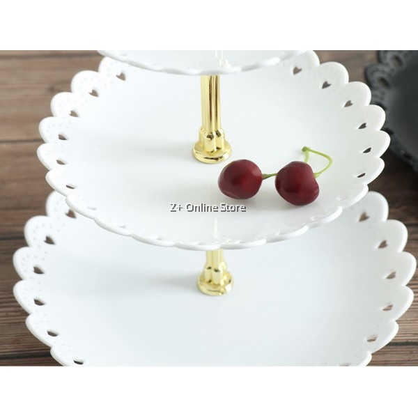 Z PLUS 3 Layer Cake Stand Fruit Plate Tray 3 Tier Cake Display Birthday Party Dessert Stand Wedding Cupcake Holder