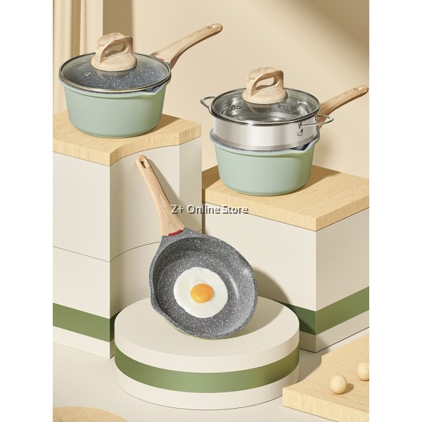 100% Real Mainfan Stone 4 Pcs Cookware Set *No Coating* Non-Stick Frying Pan Saucepan Cooking Pot Milk Pot Stainless Steel Steamer Tray Glass Cover Lid
