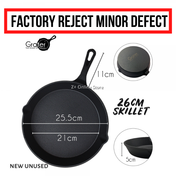 [Minor Defect] GRATER MALAYSIA CAST IRON SKILLET Cast Iron Frying Pan Grill Pan Induction Campfire Oven Safe