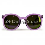 Z PLUS Korean Retro Sunglasses with Reflective Colour Film (Purple) [free glasses clothes and bags]