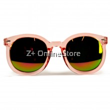 Z PLUS Korean Retro Sunglasses with Reflective Colour Film (Pink)