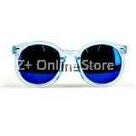 Z PLUS Korean Retro Sunglasses with Reflective Colour Film (Blue) [free glasses clothes and bags]