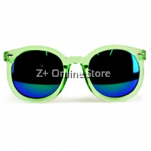 Z PLUS Korean Retro Sunglasses with Reflective Colour Film (Green)