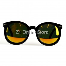 Korean Retro Sunglasses with Reflective Colour Film (Black Red)