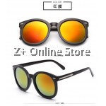 Z PLUS Korean Retro Sunglasses with Reflective Colour Film (Black Red) [free glasses clothes and bags]
