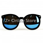Korean Retro Sunglasses with Reflective Colour Film (Black Blue)