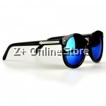 Z PLUS Korean Retro Sunglasses with Reflective Colour Film (Black Blue) [free glasses clothes and bags]