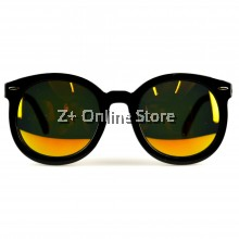 Z PLUS Korean Retro Sunglasses with Reflective Colour Film (Black Gold)