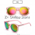 Z PLUS Korean Retro Sunglasses with Reflective Colour Film (Black Gold) [free glasses clothes and bags]