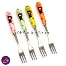 Cute Creative Teddy Bear Series Set of 4 Stainless Steel Fork with Ceramic Handle