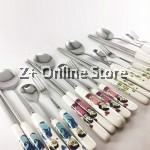 Z PLUS Cute Creative Happy Family Set Stainless Steel Cutlery Spoon Fork Ceramic Handle