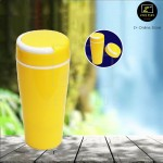 Z PLUS 200ml Eco Friendly Leak Proof Double Protection Wall Ceramic PP Mug (Yellow)