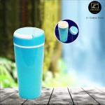 Z PLUS 200ml Eco Friendly Double Layer Protection Leak Proof Ceramic PP Mug (Blue)