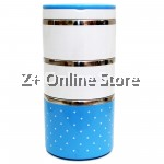 Z PLUS Mini Stainless Steel 3 Layers Lunch Box Premium Gift (1230ml) Blue