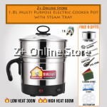 [Ready Stock]1.8L Multi Purpose 8 in 1 Stainless Steel Electric Cooker Pot