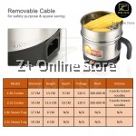 Multi Purpose 8 in 1 Stainless Steel Electric Pot Cooker Home Student use (1.8L) with free adapter