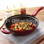 Z PLUS 32cm MJ Non Stick High Pressure Wok Stand Up Lid Cover Red Wine Silicone Shovel