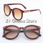 Z PLUS Korean Retro Sunglasses with Reflective Colour Film (Brown) [free glasses clothes and bags]