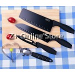 Z PLUS Set of 5 Stainless Steel Buck i Knife with Black Oxidation lron Film