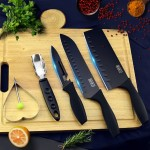 Set of 5 Set of 5 Stainless Steel Knife with Black Oxidation lron Film Coating Kitchen Chef Knife Set Peeler Fruit Knife Gift Set Box