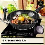 Z PLUS 32cm OKO Korean Maifan Non stick Cooking Pot Fry Pan Wok Standable Lid Cover Yellow Handle