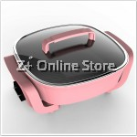 Z PLUS 3.7L Multipurpose Electric BBQ Grill Non Stick Cooking Steamboat Pan (PinK)