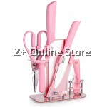 Z PLUS YNS Set of 9 Ceramics Knife Set Combo with Support Rack (Pink)