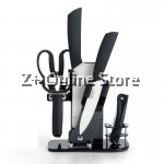 Z PLUS YNS Set of 9 Ceramics Knife Set Combo with Support Rack (Black)