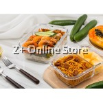 Z PLUS Set of 2 Rectangle Microwave Heat Resistant Glass Container Lunch Box Bag Cutlery