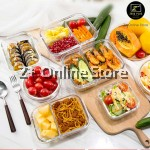 4 in 1 Set of Compartmental Glass Food Container Lunch Box + Cooler Bag + Cutlery Set Microwave Glass Food Storage Tupperware Glasslock Glassware