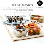 Z PLUS Set of 2 Rectangle Microwave Heat Resistant Glass Lunch Box + Free bag + Cutlery