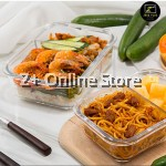 Set of 2 Rectangle Microwave Heat Resistant Glass Container Lunch Box Bag Cutlery