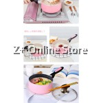 Z PLUS 16 cm Single Handled Non Stick Milk Pot with Cover (Pink)